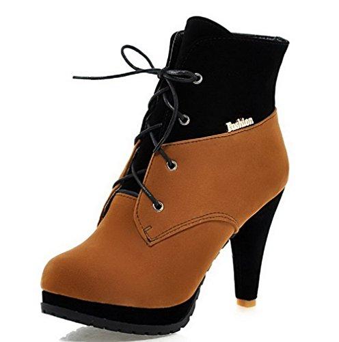 VogueZone009 Donna Punta Tonda Tacco Alto Bassa Altezza Colore Assortito Stivali con Metallo Giallo