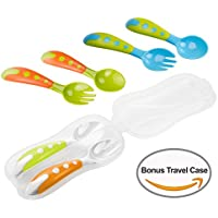 Lullababy Travel Safe training 3cucchiaio e forchetta set con custodia per il trasporto, dimensioni perfette da viaggio bonus cucchiaio e forchetta, senza BPA, Great Baby Gifts set