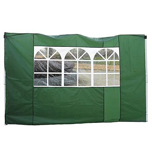 Outsunny 2 Paredes Parte Laterales para Carpa 3x3m Lado Parasol de Gazebo Tela Oxford con Ventana Medidas 300x200cm Verde Oscuro