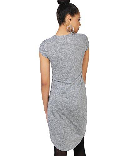 KRISP® Femmes Tunique Longue Robe Asymétrique Uni Classique Casual Gris