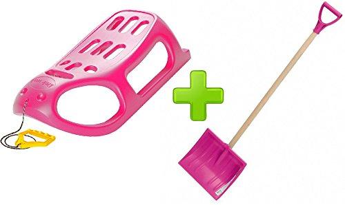 Pink Starke Kunststoff Schlitten mit Metallschienen und Kinder Schnee Schaufel