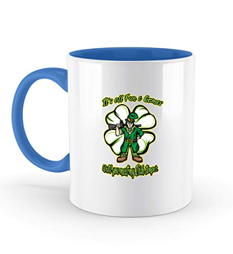 Affiliate.Inc Lustiges Irish Pub St Patricks Day Geschenk Paddys Day Pub outfit Kobold Kleeblatt Glück - Zweifarbige Tasse -330ml-Blau