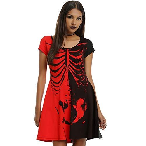 Knochen Kostüm Skelett Für Erwachsenen - Bluelucon Damen Skelett Knochen Kleid Schädel Verkleidung Kostümparty Mädchen Halloween-Skelett Party Ball Karneval Kostüm Kontrastfarbe T Shirt Kleid Kurzarm