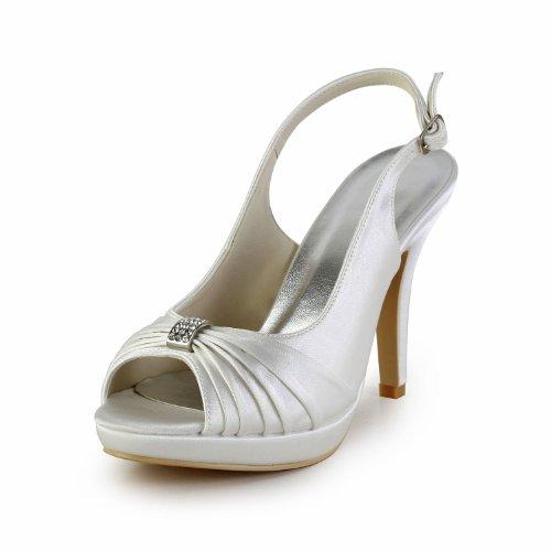 Best 4U® Damen Hochzeitsschuhe Satin Frühling Sommer 10Cm High Heels 1.5 Plattform Braut Brautjungfer Peep-Toe Strass Rüschen Eine Schnalle Gummisohle Slingback Sandalen Elfenbein,EU40 (Mädchen Schuhe Elfenbein Kleid)