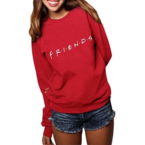 JEELINBORE Sudadera de Manga Larga de Otoño Invierno para Mujer Jersey Friends USA Pullover Tops Blusa (#1 Rojo, CN M)