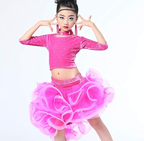 Tanzkostüm Rosa Und Schwarze - YZLL Latin Dance Kostüme Mädchen Split Latin Dance Kleid Tanzkostüm Wettbewerb Kleid Rosa Blau Schwarz,Pink,160CM