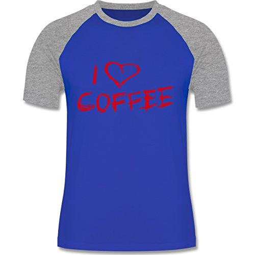 Küche - I Love Coffee - zweifarbiges Baseballshirt für Männer Royalblau/Grau meliert