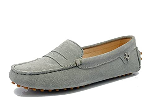 Minitoo Girls Ladies Casual Gray Suede Leather Driving outdoor Boat