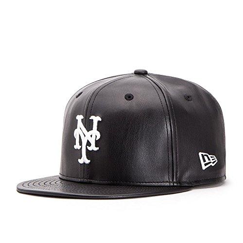 New Era New YMets 9FIFTY Snapback Cap, schwarz, aus lederimitat, Einheitsgröße (New Herren-leder York -)