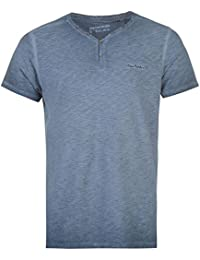 Mens Pierre Cardin 100% Cotton Acid Wash Signature Embroidery Henley T-Shirt (Medium, Navy)