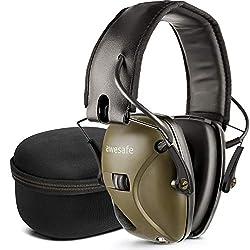 awesafe Elektronischer Trigger-Gehörschutz GF01 mit Hartschalentasche zur Aufbewahrung auf Reisen und zur Geräuschverstärkung mit Geräuschreduzierung Grün