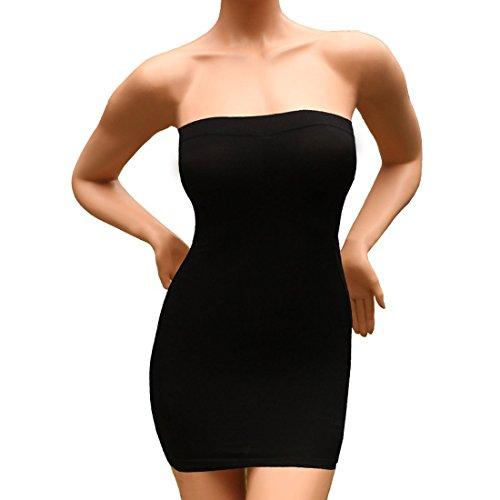 Andux Sexy Damen Figurformende miederkleid trägerlos ausdehnungs minikleid schlankheits SS-W03 Schwarz