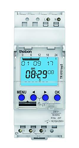 Theben 6100130 TR610 top3 - digitale 1-Kanal Zeitschaltuhr mit App-Programmierung, perfekt für LEDs, Zeitschalter