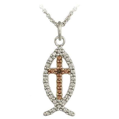 Sterling Silber Two-Tone Rotgold Champagner Diamant akzent Neuheit Religiöse Fisch