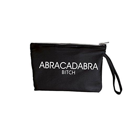 abracadabra bitch Tasche mit Spruch verschiedene Motive Make Up Tasche Damen Cool Kosmetiktasche für Reisen (388-Kosmetik-Schwarz)