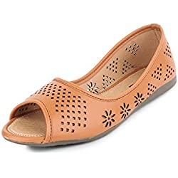 Yahe Women's Casual Napa Leather Open Toe Bellies Tan Colour 5 UK