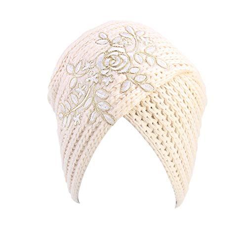 Ssowun Turban Damen Winter Kopftuch Beanie Hüte Muslime Bandana Turbanmütze Warm Kopfbedeckung Make up Wrap für Haarausfall, Krebs, Chemo -