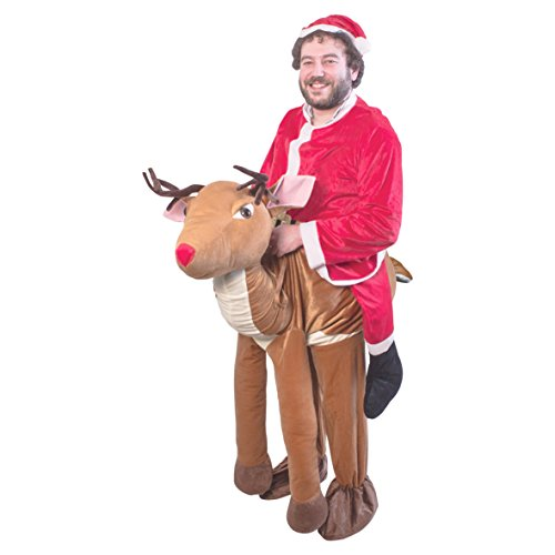 The Christmas Workshop 87000 Santa Riding A Rentier Ride On Erwachsene Ultimate Weihnachten Party Kostüm (One Size) (Santa's Helper Elf Kostüm)