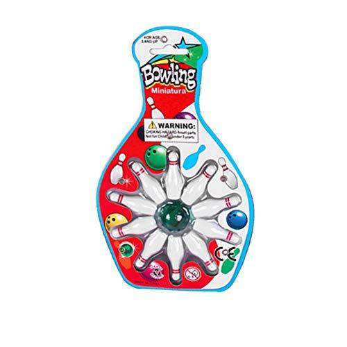 Togames-DE Mini Desk Top Bowling Game Set Kinder Kinder Neuheit Spielzeug -10 Bowling 1 Marmor Flipper Bowling Schreibtisch Spiel Unterhaltung -