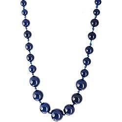 Kastiya Jewels Dark Blue Colored Original Agate Semi Precious Gemstone Beads Mala Necklace For Women