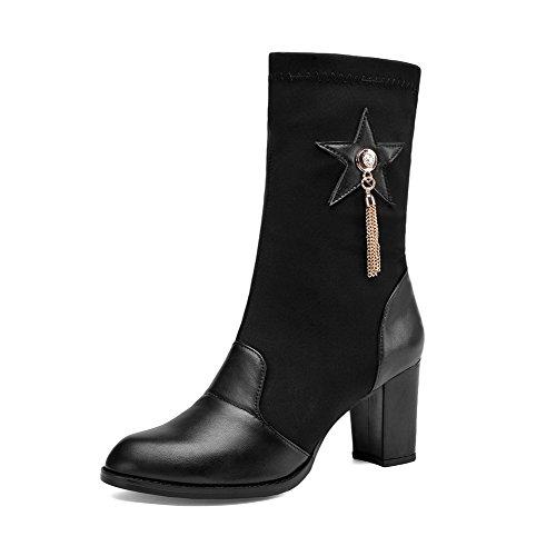 AllhqFashion Damen Blend-Materialien Ziehen Auf Spitz Zehe Hoher Absatz Mitte-Spitze Stiefel Schwarz
