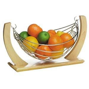 Premier Corbeille à fruits Bois d'hévéa/chromé Petit