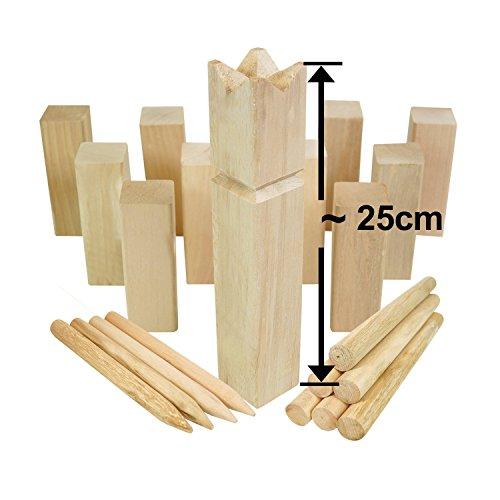 Moorland KUBB Wikinger-Spiel Knut Schweden-Schach Outdoor Spiel für bis zu 12 Personen - massives Holz inkl Tasche