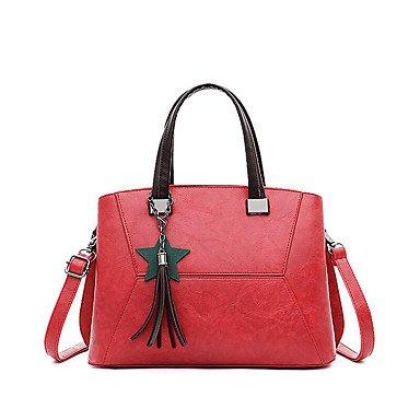 Le donne della moda ricamo PU in pelle Tracolla Messenger Crossbody borse/borsa borse,Nero khaki