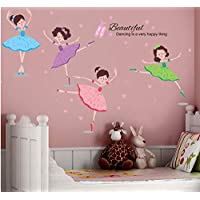 Ballet Girl Dancers Wall Stickers PVC DIY Wall Decals for Kids Rooms Baby Bedroom Decoration
