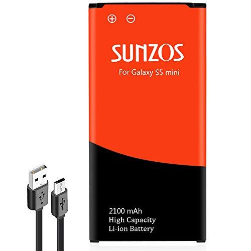SUNZOS Akku für Samsung Galaxy S5 Mini SM-G800F EB-BG800BBE Accu Batterie - 3 Jahre Garantie