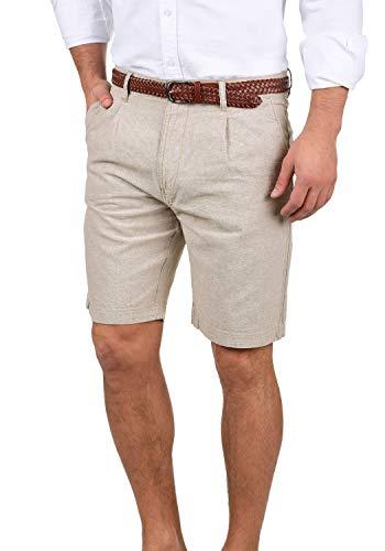 Indicode Ledian Herren Leinenshorts Kurze Leinenhose Bermuda Mit Gürtel Regular Fit, Größe:L, Farbe:Fog (004)