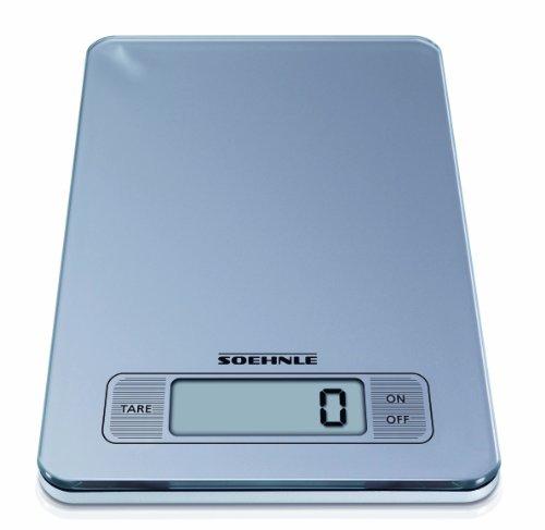Soehnle 66107, Bilancia digitale da cucina in vetro, tastiera a sfioramento, superpiatta 17 mm, colore: Argento