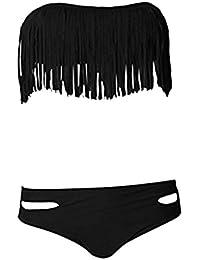 748aca37e443 CTHEE Donne Fiocco Decorato Imbottito Push Up Sexy Calda Bikini Costumi Da  Bagno Moda Mare Nero