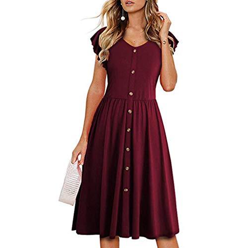 d,Mode Solide Taste Ärmellos O-Ausschnitt Abend Party Kleid,Kleider für hochzeitsgäste 2019 ()
