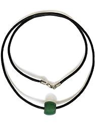 Grüner Aventurin Halskette, natürlich, Trommel, 10x12mm, Lederschnur, Edelstahl Verschluss