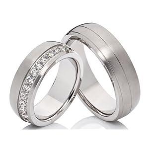 2 Hochzeitsringe Trauringe Eheringe Verlobungsringe mit 24 Zirkonia im Damenring & gratis Gravur aus Edelstahl