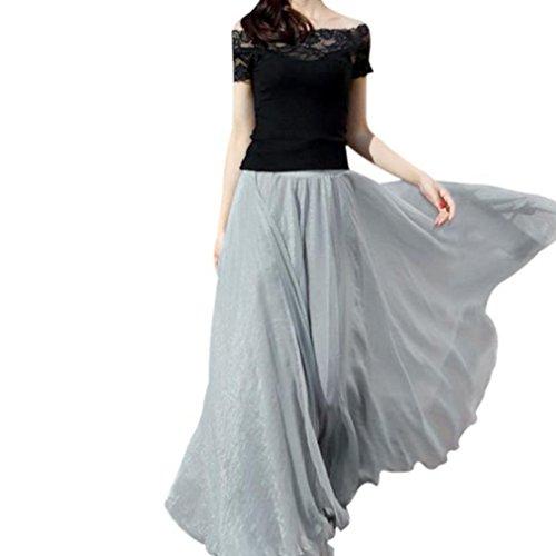 Röcke für Damen Sannysis Frau Elastische Taille Chiffon Rock Lange Maxi Beach Kleid Abendkleid Cocktailkleid Partykleid Rockabilly Kleid (Grau) (Kleid Womens Maxi Baumwolle)