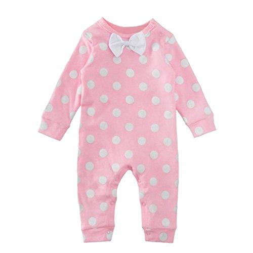 Bekleidung Longra Kleinkind Baby Kinder Dot drucken Kleinkind Strampler Overall Bodysuit Bowknot Kleidung(0-18 Monate) (65CM 3Monate)