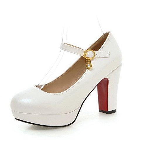 AgooLar Femme Rond Boucle Pu Cuir Couleur Unie à Talon Haut Chaussures Légeres Blanc