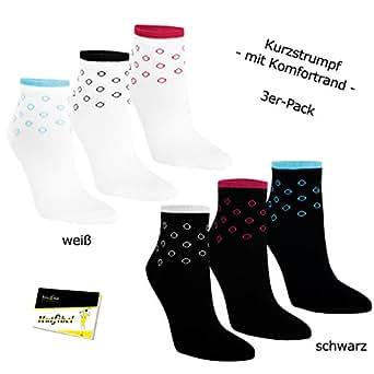 "3er Pack Damen Kurzstrümpfe Socken Strümpfe ""Seifenblase"" (RS-15245-WEI-35/38) weiß, 35/38 - inkl. EveryHead-Hutfibel"