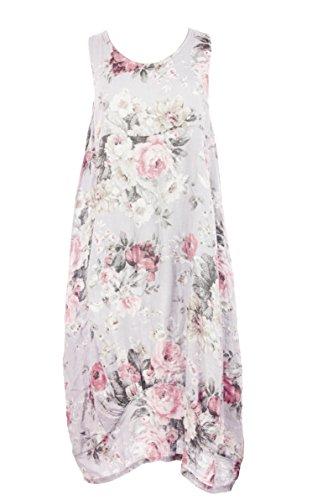 Ladies Womens Italian Lagenlook Floral Print Sleeveless 2 Pocket Linen Tulip Midi Dress One Size (White, One Size) (Kleid Silk Floral Sleeveless)