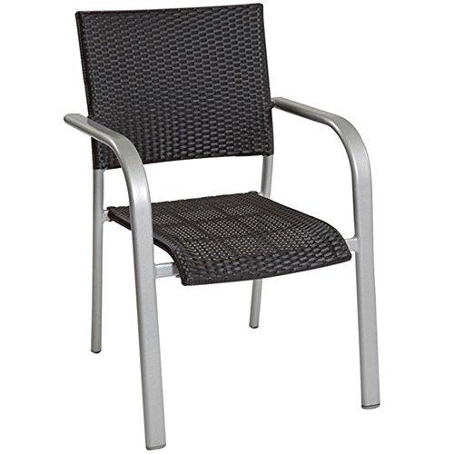 JUSThome ALBERGO WICKER Chaise Bistro en Acier Chaise de jardin Platine/Noir