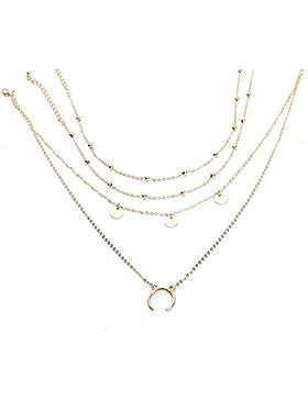 Blue Vessel Mond-Wafer Multi-Layer-Halskette Perlen