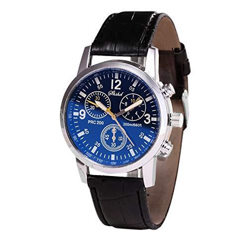 Uhren Damen Herren Armbanduhr Blue Ray Glas Neutralquarz Rhinestone Watch Bracelet Watch Casual Luxus Uhrenarmband Exquisit Uhr mit Lederarmbandes,ABsoar