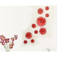 Adhesivo decorativo para pared (diseño de flores plástico 3d 10piezas, Rojo, Pattern 2