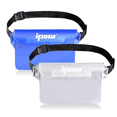 ipow 2 Pack wasserdichte Tasche Beutel Hülle Unterwassertasche Bauchtasche vollkommen für iPhone, Handy, Kamera, iPad, Bargeld, Dokumente vor Wasser schützen (weiß+ blau)
