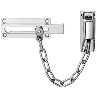 XFORT® Front Door Chain with Lock, Security Locking Door Chain, Front Door Restrictor Chain Complete with Integrated Locking Mechanism Allowing for Chain Release from The Outside. [Polished Chrome]