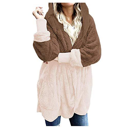 - Knopf-front Hipster (LILIHOT Frauen übergroße Offene Front Mit Kapuze Drapierte Taschen Strickjacke Mantel Damen Casual Fuzzy Kapuzenjacke Kunstfell Cardigan Mantel mit Taschen)