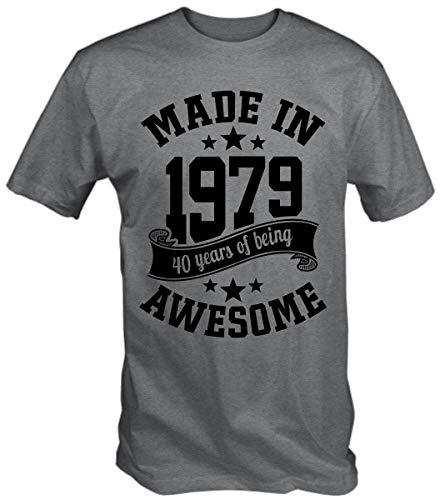 6TN Hombre Hecho en 1979 40 Years of Being Sorprendente 40 Cumpleaños Camiseta - Deporte Gris, L