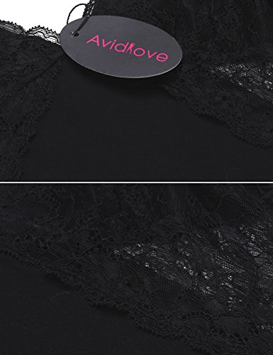 Avidlove Sexy Unterkleid Damen Spitze Kurz Unterröcke Negligee schlüpfen Kleid Lingerie Babydolls Pyjama Dessous Set Nachthemd Minikleid Elastisch V-Ausschnitt mit G-String Stil 2: Schwarz